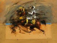Fantasia, huile et collage sur bois, 40x40 cm
